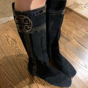 Black suede and leather Tory Burch boots